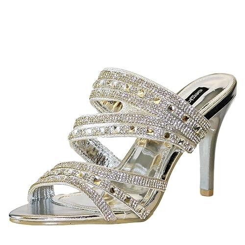 Rock on Styles Ladies Diamante Mid High Heel Evening Bridal Slip On Shoes Sandals Mules-