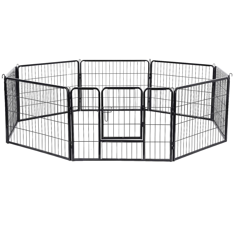 FEANDREA 8-Panel Pet Playpen, Iron Dog Cage, Heavy Duty Pet Fence, Puppy Whelping Pen, Foldable and Portable, 80 x 60 cm, Black PPK86H