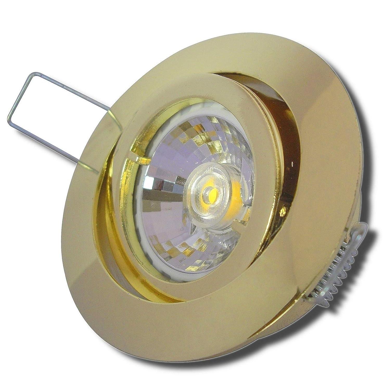7 Stück MCOB LED Einbaustrahler Laura 230 Volt 3 Watt Schwenkbar Gold Warmweiß