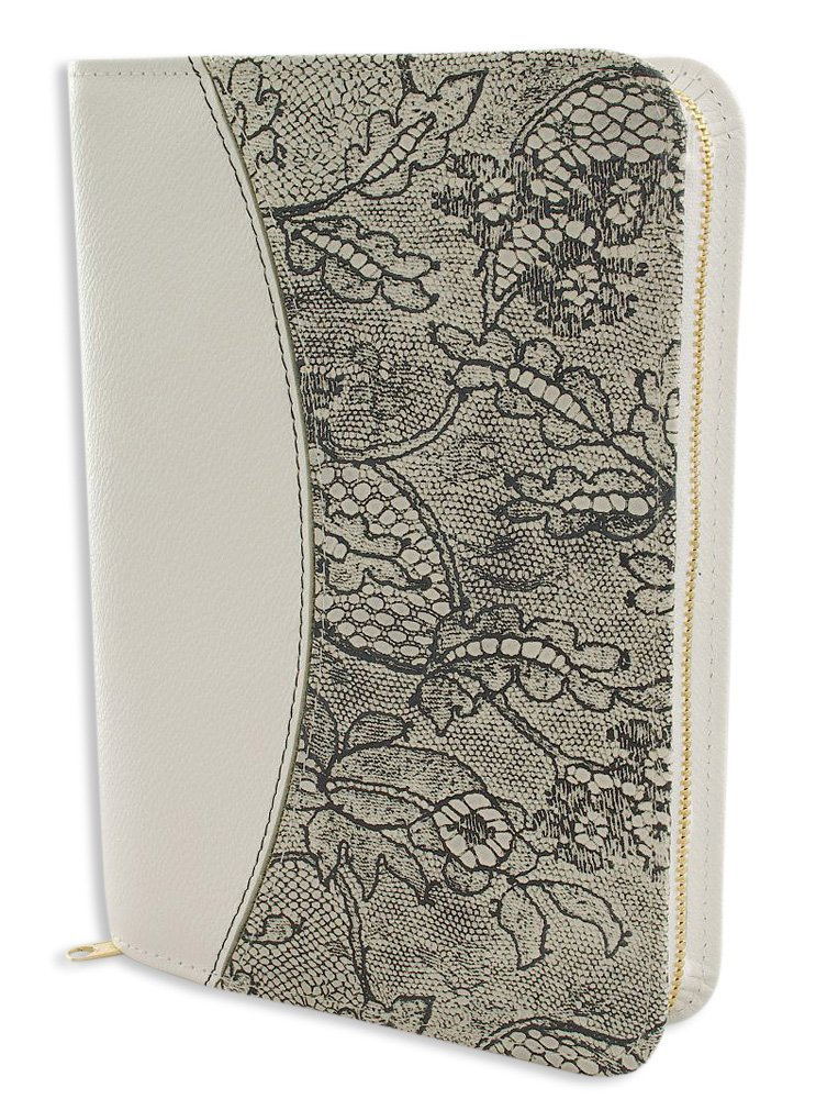 Cuero Bibelhuuml;lle Gotteslobhuuml;lle blanco con adorno floral oscuro 14 x 19 x 3,8 cm