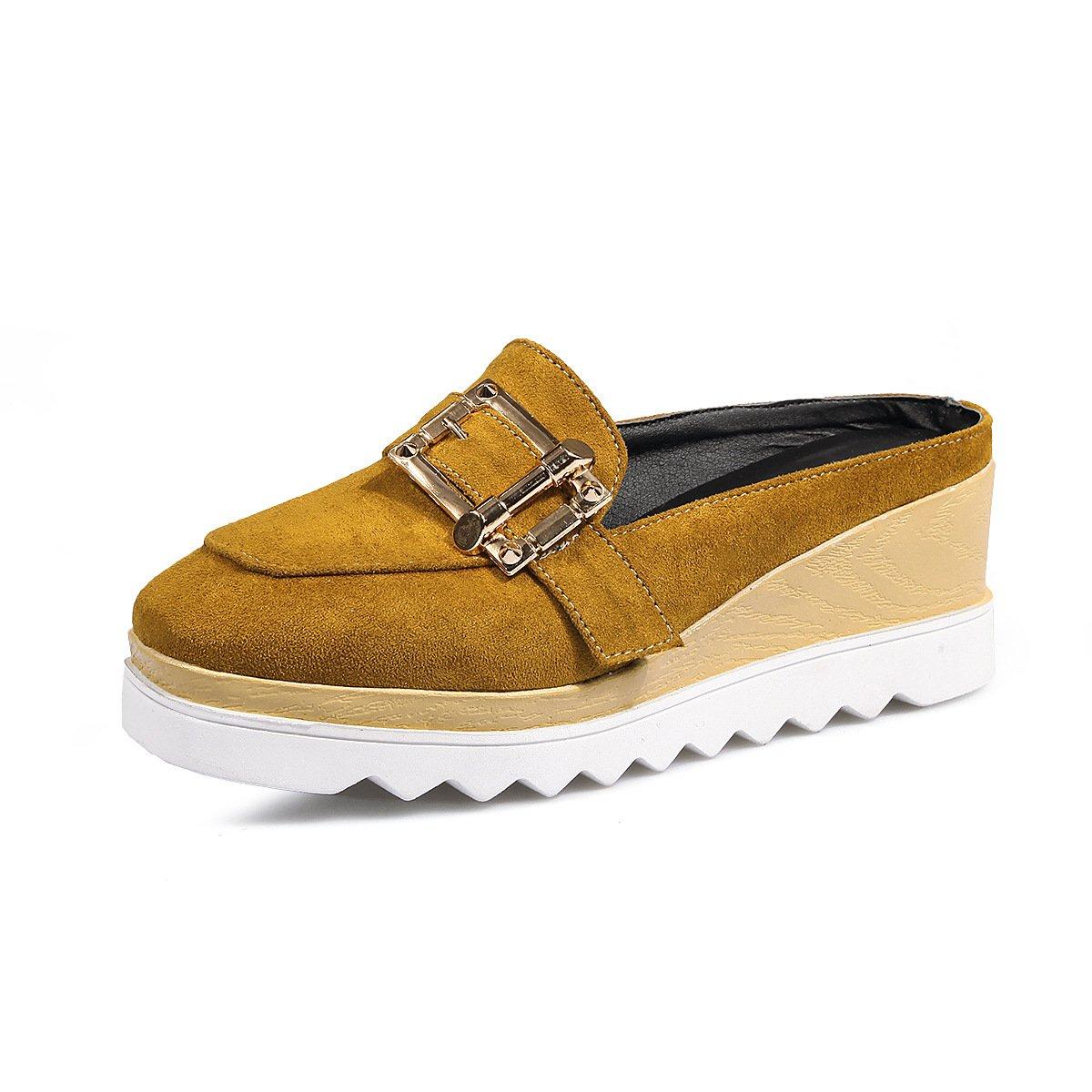 Unbekannt Sandalen von Frauen Dick Unten Unten Unten Steigung Baotou Flip Flop Großen Äußeren Verschleiß Gelb 39 ca52c0