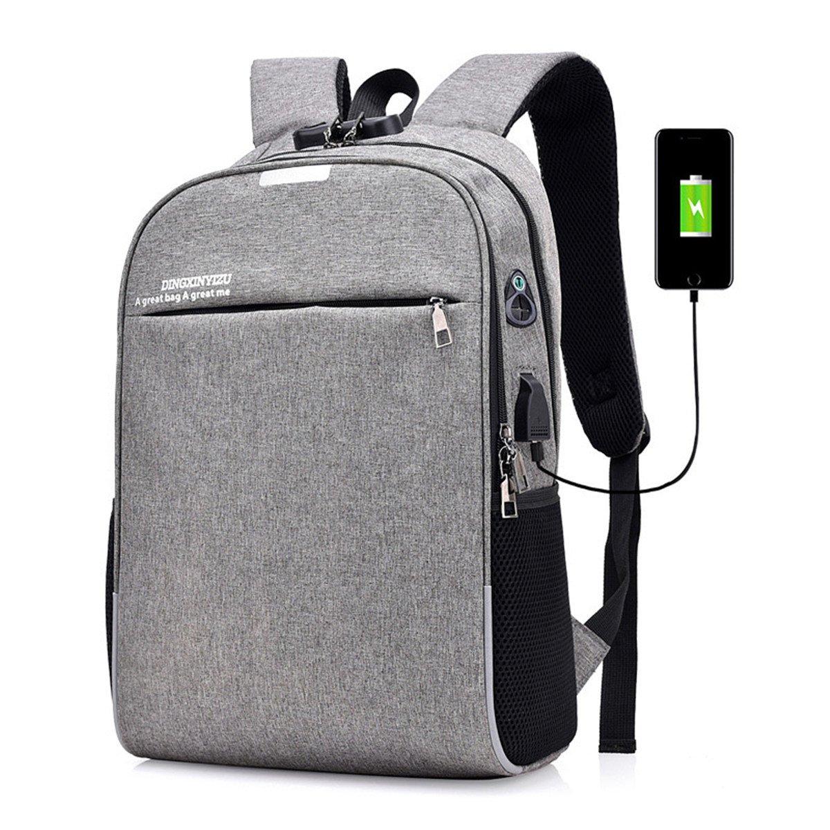 gris  LaDicha Sac D'Ordinateur portable Sac à Dos d'homme d'affaires D'Anti-Vol De L'Usb De La Charge Port - gris