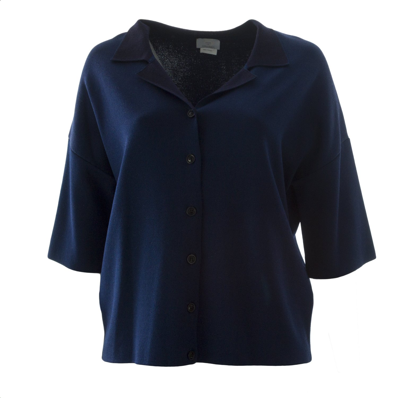 Navy Marina Rinaldi Women's Maiorca Collared Sweater Navy