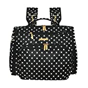 Land 3 in 1 Convertible Diaper Bag Backpack with Messenger Strap and Stroller Straps (Black)