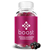 Boost Premium Elderberry Gummies with Zinc and Vitamin C for Adults and Kids - 60ct...