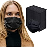 HB Kang 100pk Disposable Face Mask Adult Protective 3 Layer Ear Loop Mouth Cover, Black