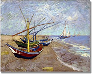 dedf80e5659 Eliteart- Fishing Boats on The Beach at Saints-Maries by Vincent Van Gogh  Oil