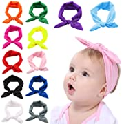 Fascigirl Baby Girl Headband, 12 Pcs Baby Knotted Headwrap Hairband for Infant Toddlers