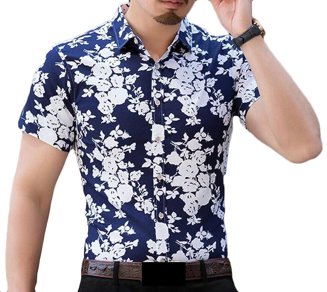 YUNY Men Pinstripe Regular Fit Color Block Polo Neck Shirt Top Blue M