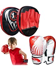 Onex Boxing Gloves and Focus Pads Set for boys and girls Kids Twins Kickboxing Punching Professional Training - Hook and Jab MMA Punch Thai Strike Bag