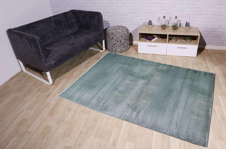 Taracarpet Kurzflor-Designer Uni Teppich extra weich fürs Wohnzimmer, Schlafzimmer, Esszimmer oder Kinderzimmer Gala Mint grün 200x250 cm