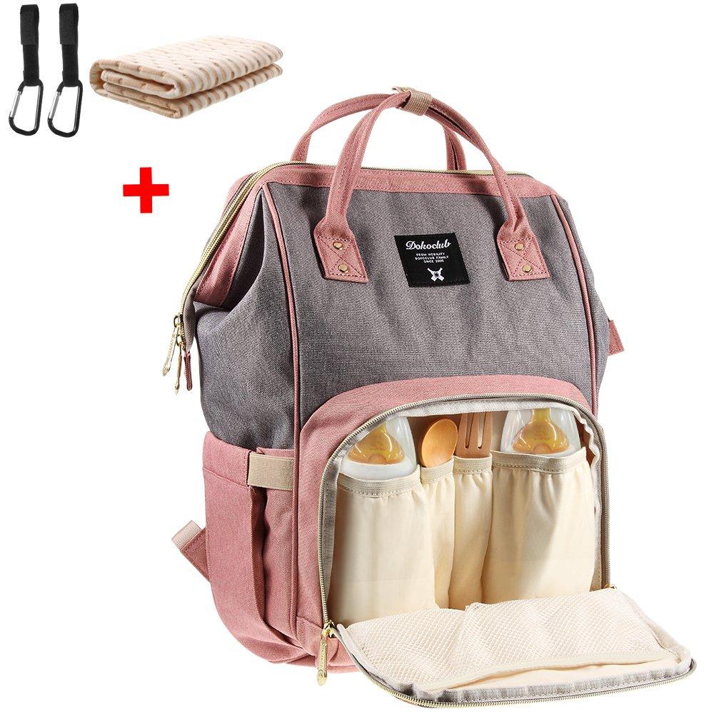 Baby Wickelrucksack mit 2 Pcs Kinderwagen-haken und 1 Pcs Wickelunterlage, Multifunktionale Wasserdichte Wickeltasche mit große Kapazität und warme Tasche, Babytasche für Reise (grau/pink) product image