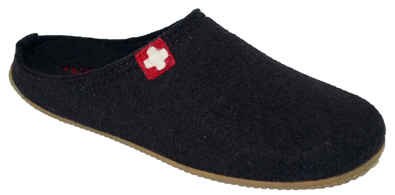 Living Kitzbühel Pantoffel Schweizer Kreuz mit Fußbett - Pantuflas de Lana Hombre 38 EU|Negros