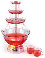 OneConcept Proseccano Party Fountain - Refreshing Drink Fountain, Red & Yellow LED Lighting, 3 Litres Capacity, 5 Cups in a Fountain Design, 29.5 x 51.5 x 29.5cm, Power Button on the Unit Base