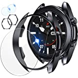 [2+2Pack] Tensea Compatible Samsung Galaxy Watch 3 45mm Screen Protector and Case, 2 Pack Tempered Glass Protective Film and