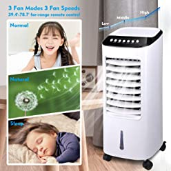 Yescom Portable Evaporative Air Cooler Fan Humidifier with Remote Control Ice Boxes Energy Saving Indoor Home