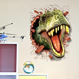 U-Shark 3D Self-Adhesive Removable Break Through The Wall Vinyl Wall Sticker/Mural Art Decals Decorator (3D Dinosaurs Opening