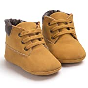 Toddler Baby Boy's Boots Baby Lace up Snow Leather Sneaker Soft Flat Ankle Shoes (0-6 Months, Khaki)