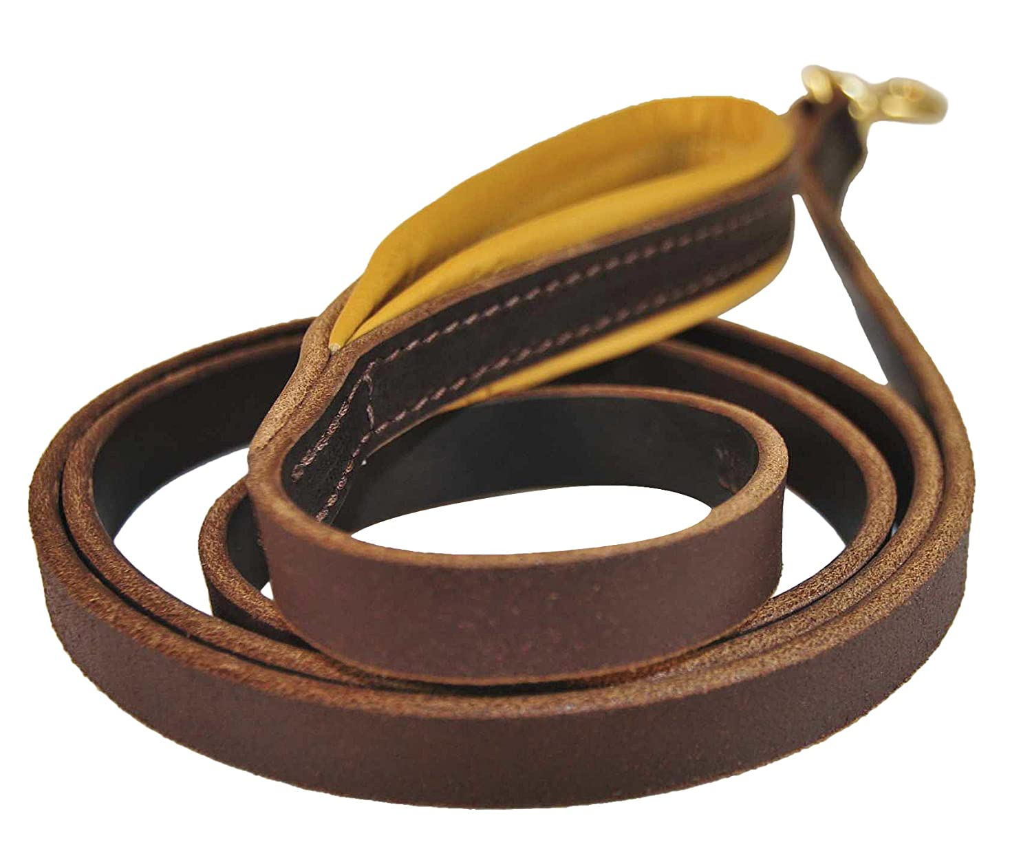 2-Feet by 3 4-Inch Dean & Tyler Soft Touch Leash with Solid Brass Hardware and Nappa Padded Handle, Brown, 2-Feet by 3 4-Inch