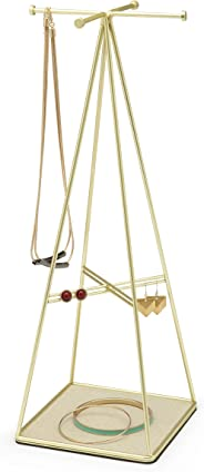 Umbra Prisma Jewelry Stand and Necklace Holder, Also Great for Earrings, Bracelets, and Other Accessories, Brass