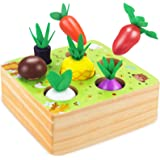 CENOVE Montessori Wooden Toys for Boys and Girls 1 2 3 Years Old,STEM Educational Toys of Shape Size Sorting Puzzle, Vegetabl