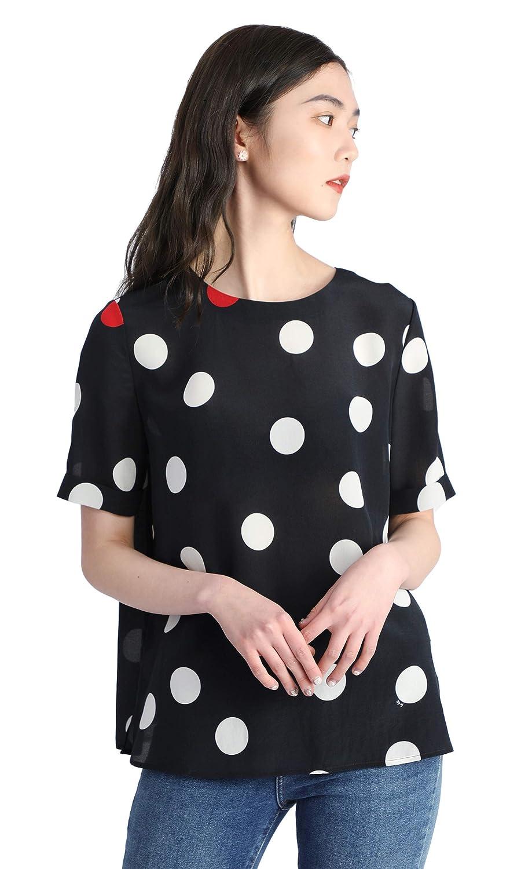 Red White Dots LilySilk Basic Round Neck 100 Pure Silk TShirt for Women Polka Dot Short Sleeve