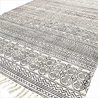 Eyes of India - 5 X 7 ft Black White Cotton Block Print Area Accent Dhurrie Rug Weave Woven Boho Chic Indian Bohemian