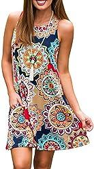 a845a0aafc3 Sanifer Women s Floral Print Bohemian Sleeveless Tunic Dress Pockets  T-Shirt Dress Beach Sundresses Tank