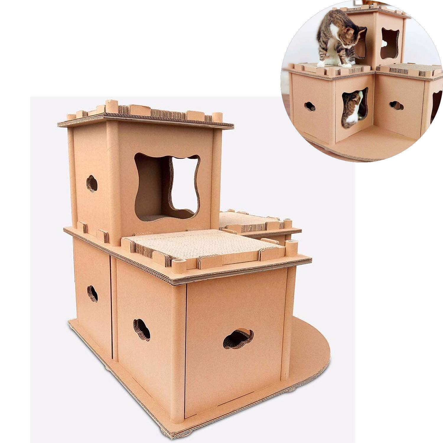Cat Furniture Scratch-Resistant Cardboard DIY Pet House Lounge Double-Layer Pet Play Game Sleep Cat Furniture Supplies