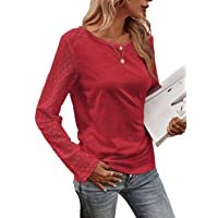 Women's Fashion Long Sleeve Lace T Shirts Crewneck Solid Color Button Back Tunic Top