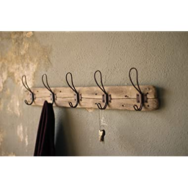 Entryway Rustic Style 5 Hook Wall Mount Wooden Coat Rack, Brown, Large, 26  x 5.5