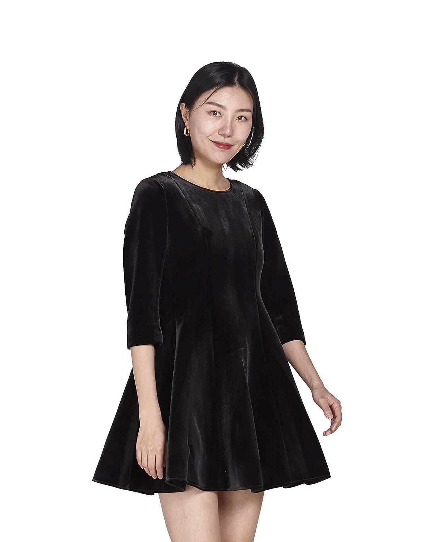 URLAZH Women's Black Tunic 3 4 Quarter Sleeve Flare Above Knee Velvet Cocktail Party Dress