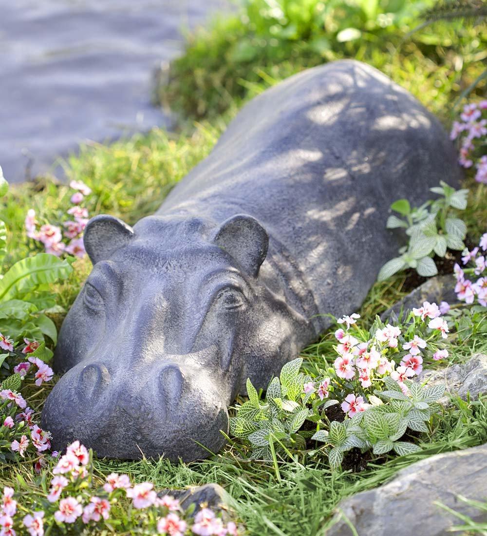 Wind & Weather Swimming Hippo Outdoor Garden Sculpture Yard Art Resin Animal Statue (Adult)