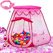 Le Papillon Pink Princess Tent Kids Ball Pit 1st Gift Toddler Girl Easy Pop Up Fold into a Carrying Case Play Tent Indoor &