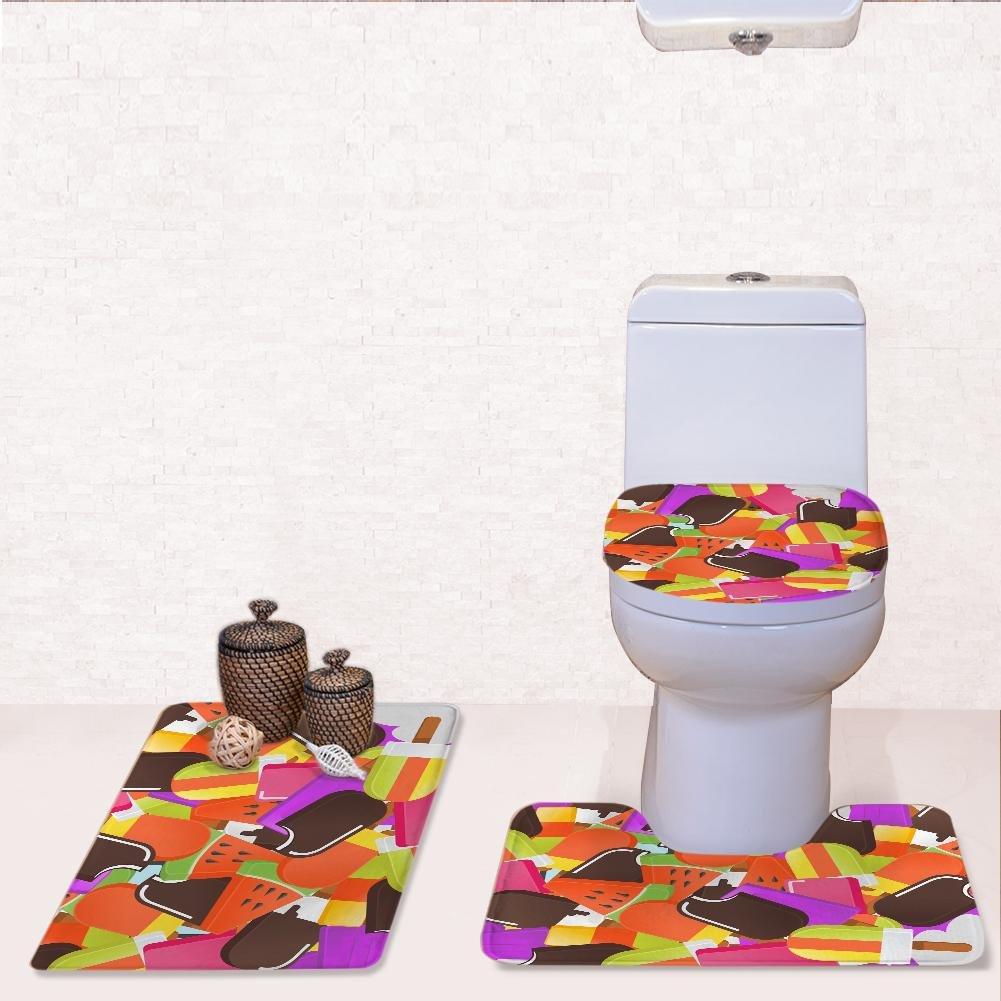 XINLEE 3 Stück Badezimmer Matte Matte Matte Set Podest Teppich Toilettendeckel Farbe EIS Muster Flanell Nicht Beleg Mat, B B07L94CY2B Duschmatten 1df2a9