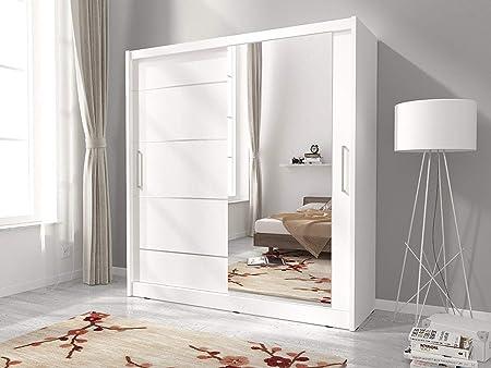 Moderne Blanc 180 Cm De Large Neuf Armoire A 2 Portes Coulissantes