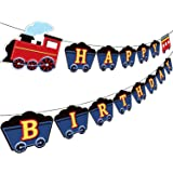 Train Birthday Party Banner Decorations, Railroad Steam Train Happy Birthday Sign Transportation Vehicle Party Garland Suppli