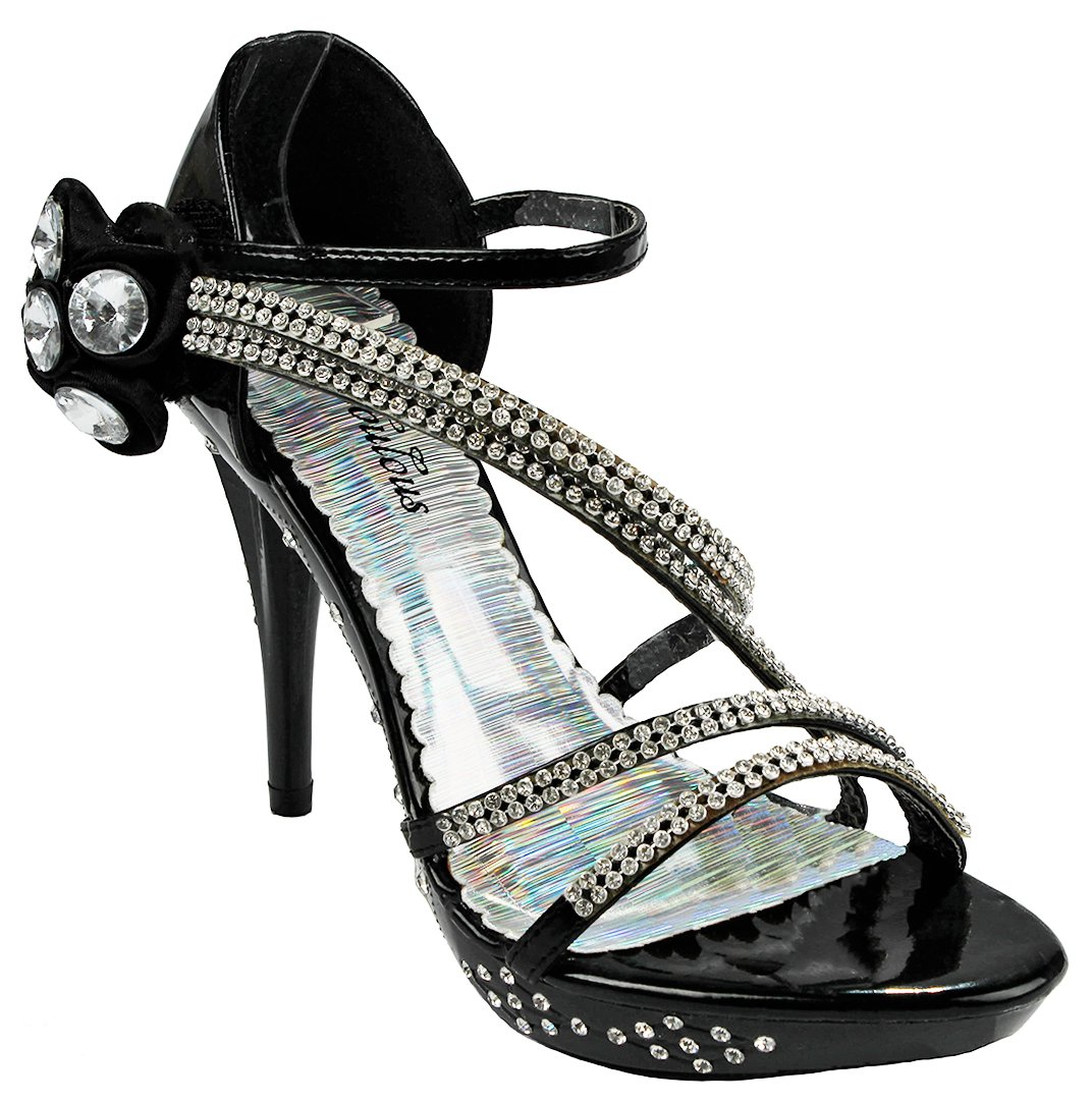 Women Strap Sparkle Rhinestone Strappy Zipper Open Toe Party Evening Dress Heels Sandal Pumps B071GS6N4W 7 B(M) US|Black_d61