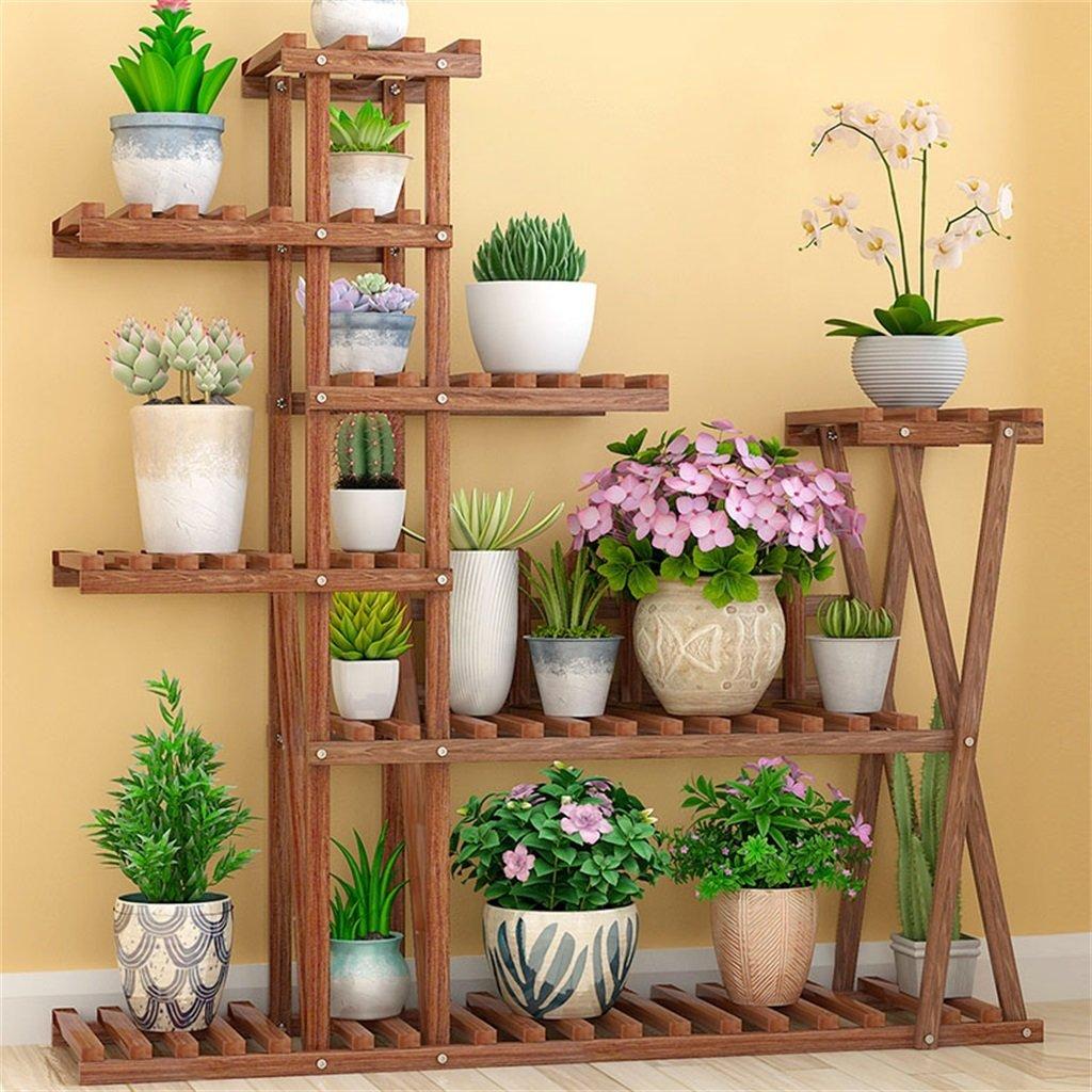 2 NYDZDM Solid Wood Flower Shelf Indoor Multi-Layer Plant Storage Shelf, Living Room Balcony Outdoor Plant Shelf with Wheels, 105 X 25 X 112 cm (color    2)