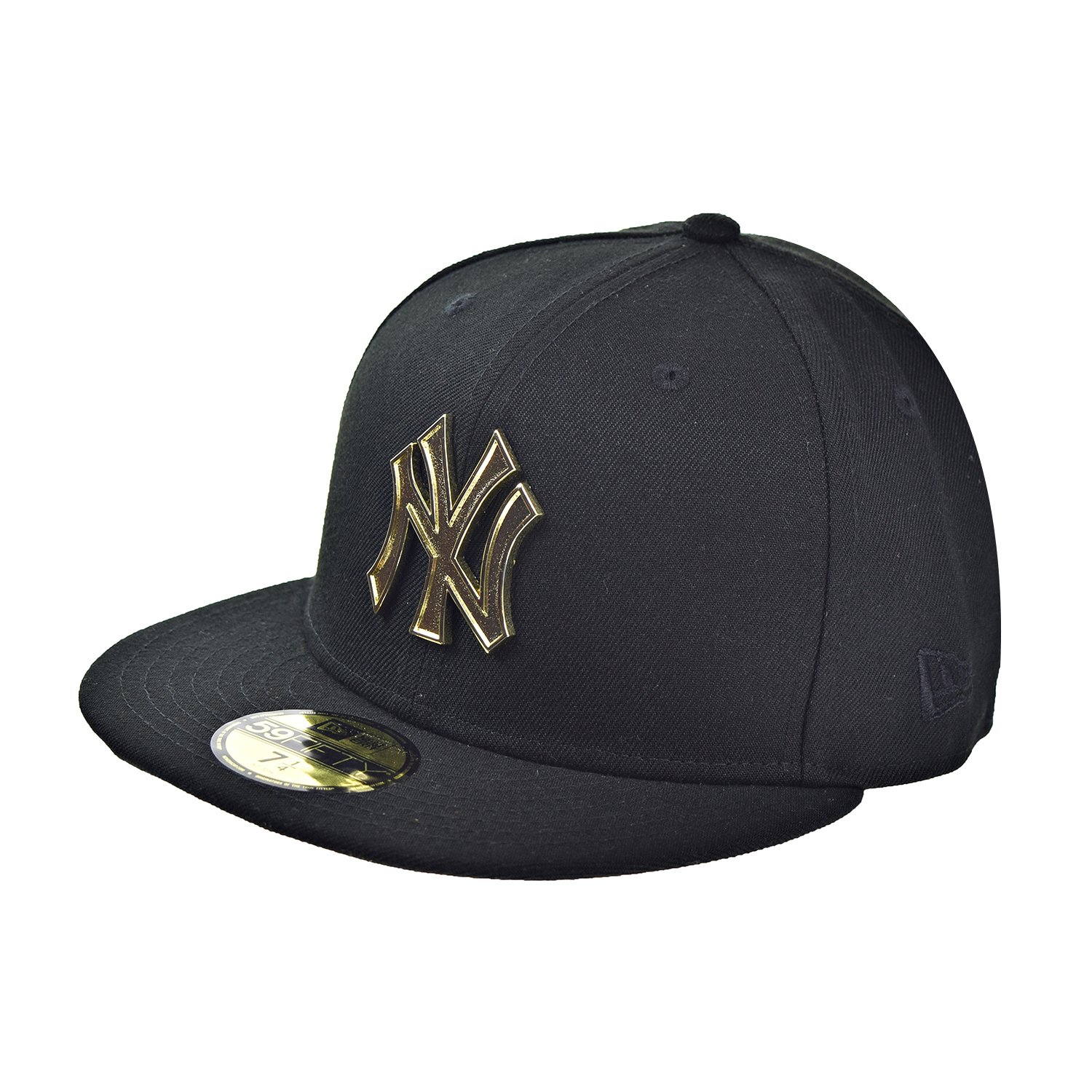 3762c927f ... discount amazon new era new york yankees metal logo 59fifty mens fitted  hat cap black gold