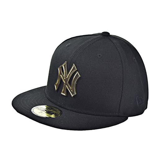 0c2edfc242f111 ... low cost new era new york yankees metal logo 59fifty mens fitted hat  cap black gold