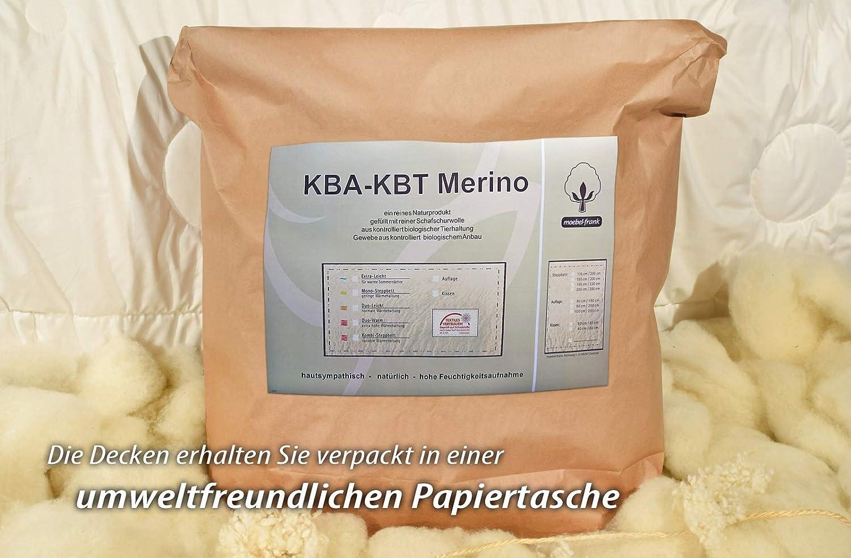 Moebelfrank Matratzenauflage BIO KBA + KBT KBT KBT Merino-Schurwolle Unterbett Auflage waschbar Nadia, Größe 140x200 cm 562d50