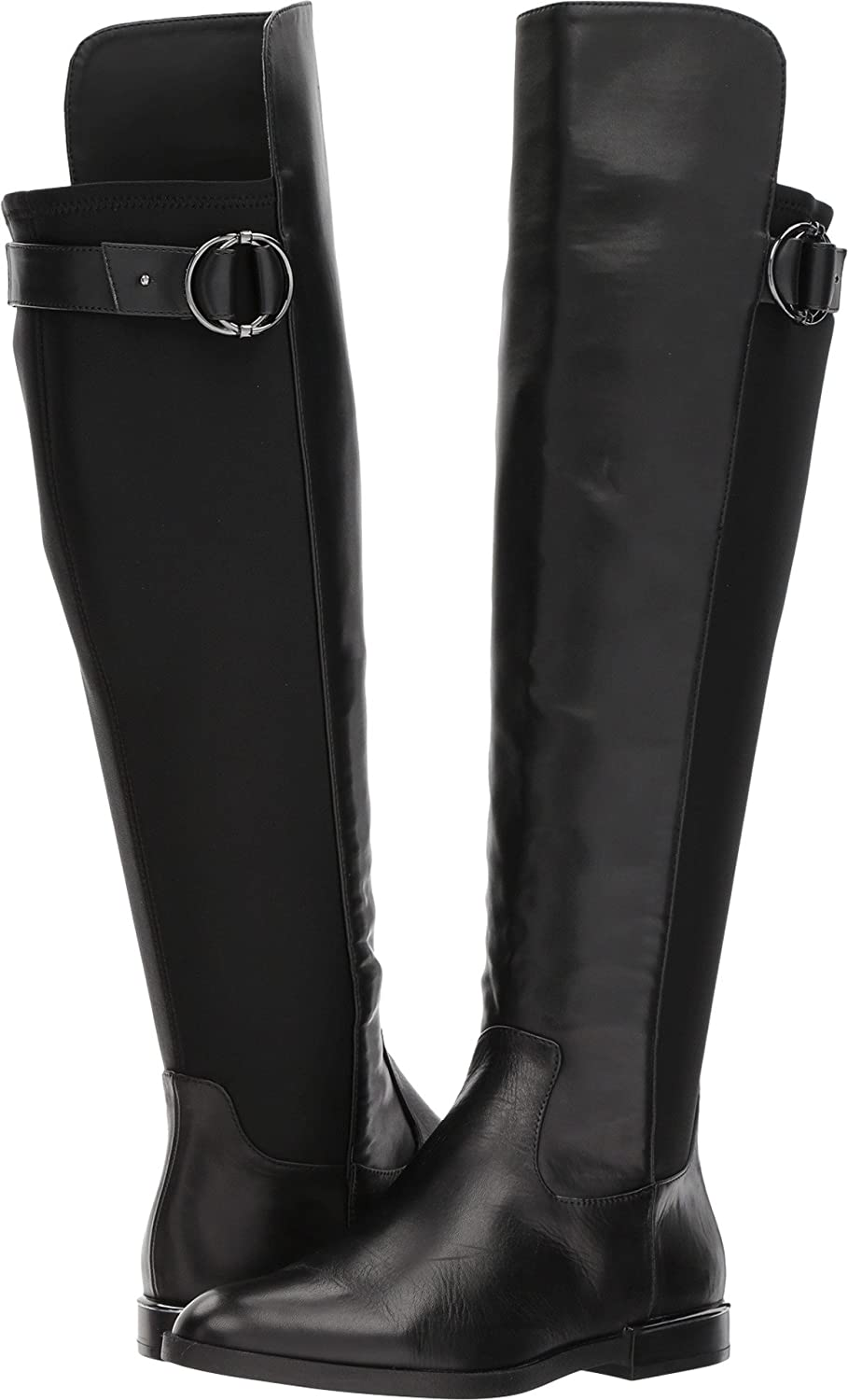 Calvin Klein Womens Priscila B075FWYTPL 7 B(M) US|Black/Gunmetal Cow Silk/Neoprene Wide Calf