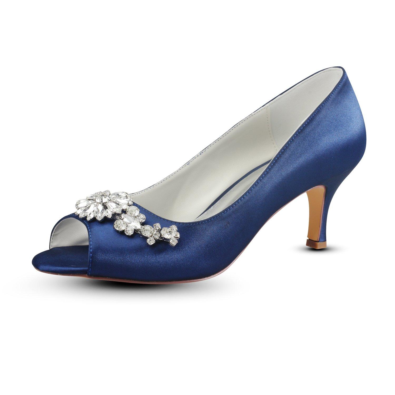Emily Bridal Zapatos de Madre de Seda Zapatos de Boda de Pedrería de Pedrería de Color Azul Profundo Zapatos de Novia de Tacón de Aguja de Gatito 37 EU