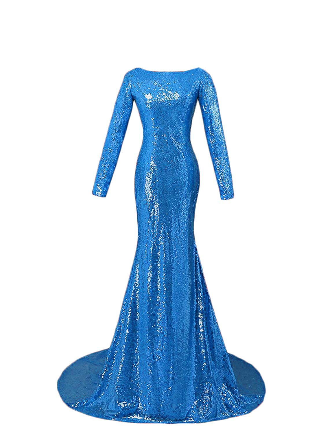 bluee CIRCLEWLD Backless Sequins Long Sleeves Formal Evening Dresses Train Elegant Prom Gala Gown E185