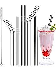 Xixini 8pcs (3 pailles courbées + 3 pailles Droites + 2 brosses) Pailles créatives réutilisables en Acier Inoxydable pour café