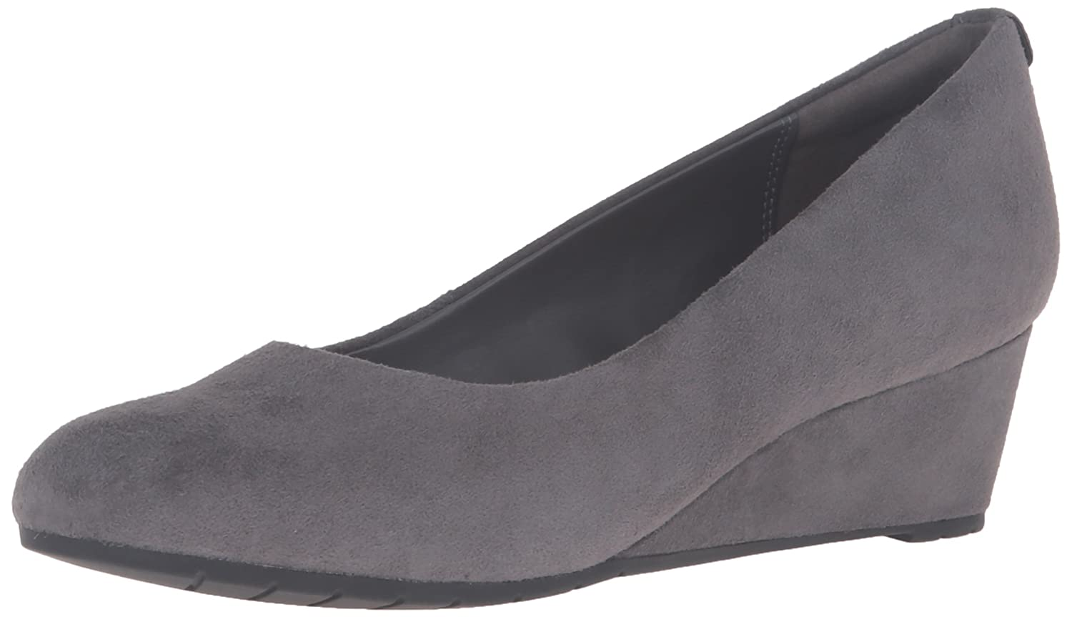CLARKS Women's Vendra Bloom Wedge Pump B0195EDT54 8.5 B(M) US|Grey Suede
