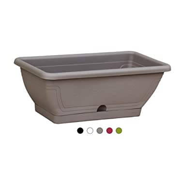 TABOR TOOLS Plastic 16 Inch Window Box Planter with Attached Saucer, for Indoor and Outdoor Use, Rectangular. VEV407A. (Grey, Flower Emboss)