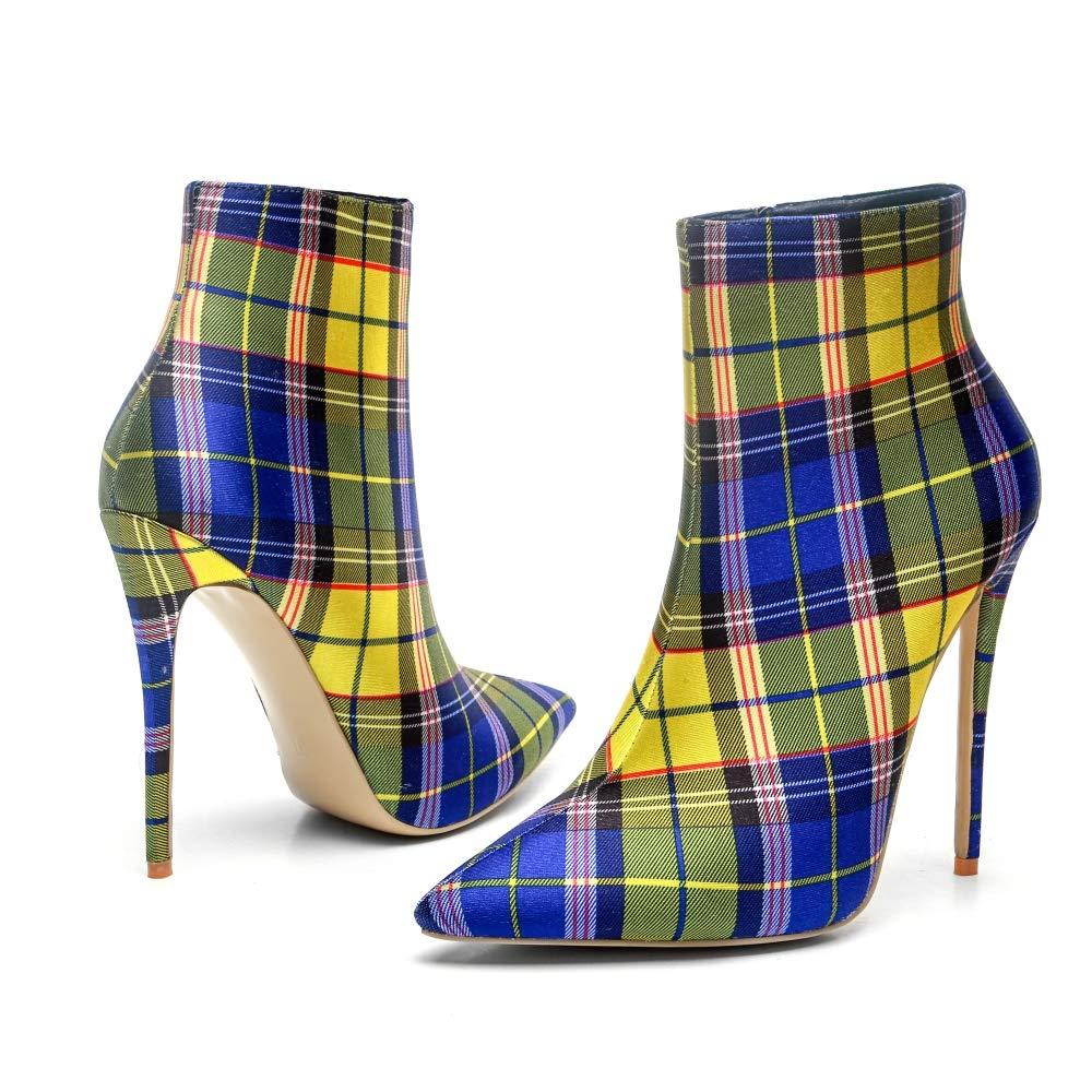 Spring Autumn Ankle Stiefel für Frauen Grid Pattern 12CM Einlegesohle High Heels Gummisohle Spitzschuh Gelb Blau