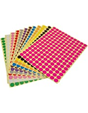 LJY Round Dot Stickers Color Coding Labels, 12 Different Assorted Colors Dot Labels, 12 Sheets (10mm)